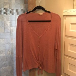 Tops - Waffle wave mauve from tie shirt